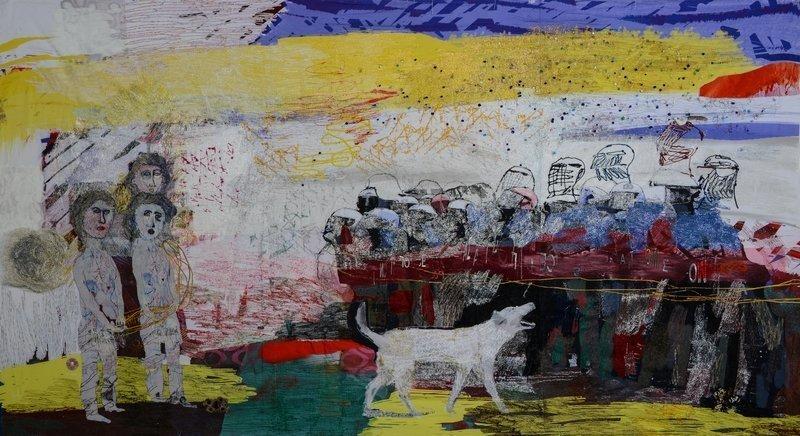 Alice Kettle (England): Loukanikos the Dog and the Cat's Cradle 2015, Fäden, Stoffe, Glas, Kupferdraht, Farbe und Feder auf Leinwand 520 x 217 cm Foto: Joe Low freundlicherweise vom Museum zur Verfügung gestellt