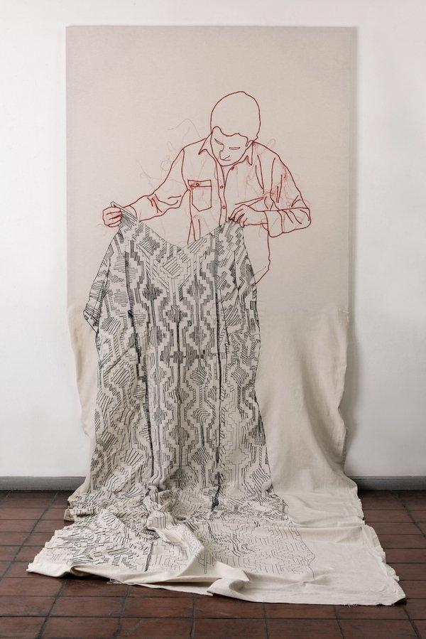 Cristiàn Velasco (Chile): País Soñado (Country Dream) 2013, Stickerei auf Baumwolle 500 x 150 cm Foto: Cristiàn Velasco freundlicherweise vom Museum zur Verfügung gestellt