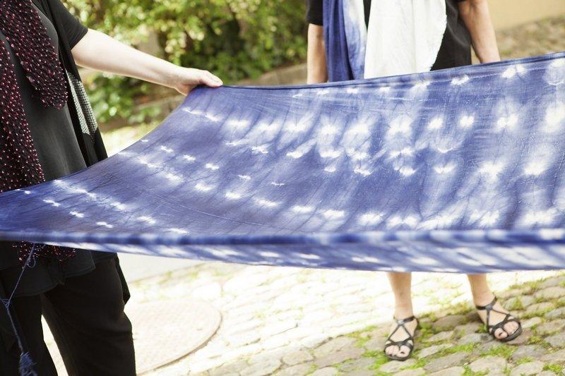 Beispiel aus einem shibori-Workshop Foto freundlicherweise vom Museum zur Verfügung gestellt