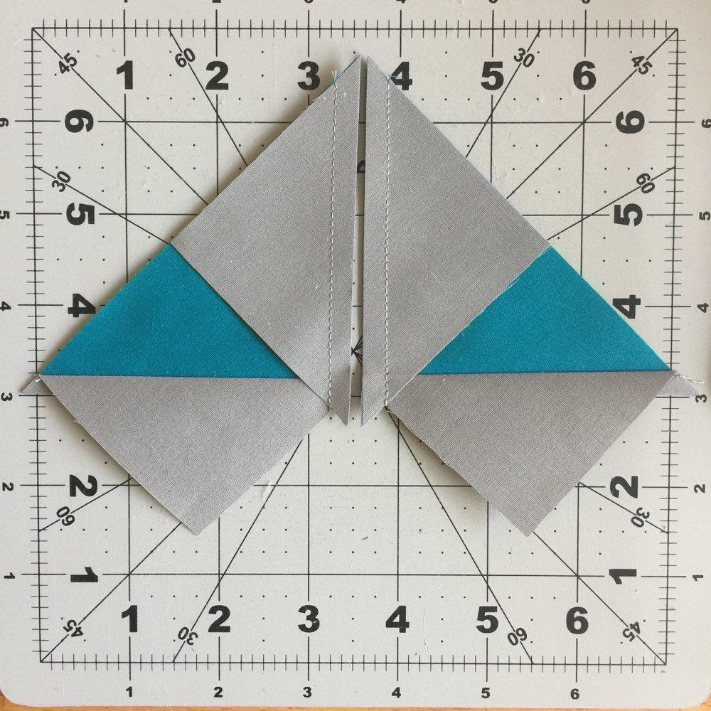 an der Diagonalen naehen und schneiden