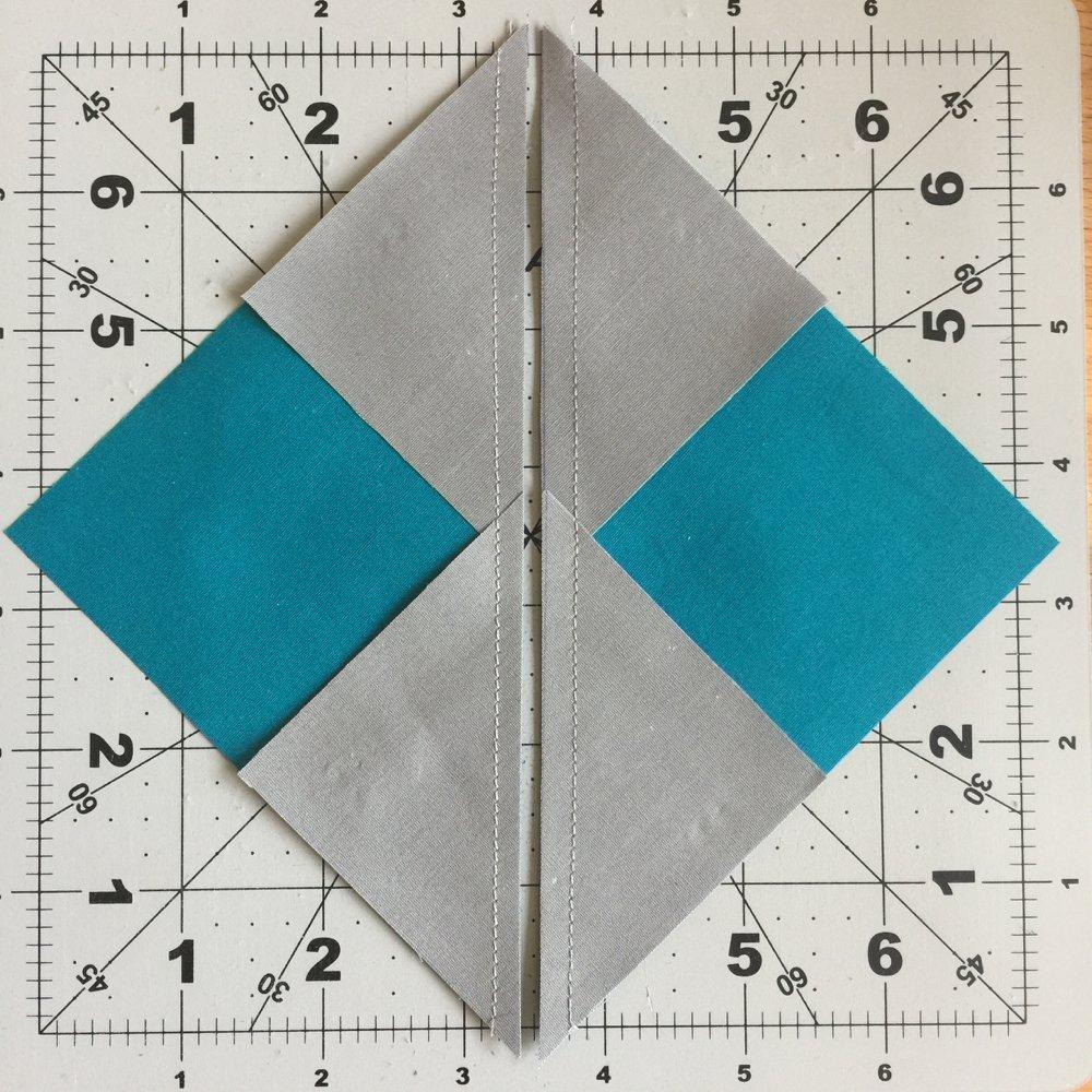 ein viertel inch an der Diagonalen naehen