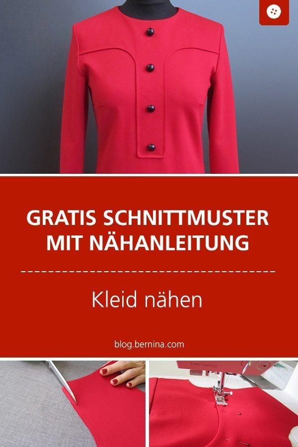 Kostenloses Schnittmuster mit Nähanleitung für ein Retro-Kleid  #schnittmuster #nähen #kleid #retro #vintage #herbst #frauen #damen #bernina #nähanleitung #diy #tutorial #freebie #freebook #kostenlos