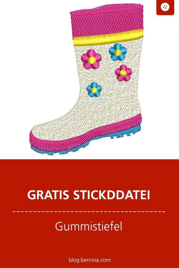 Gratis Stickanleitung & Nähanleitung: Blumentopf-Überzug mit Gummistiefel #stickdatei #stickmuster #stickvorlage #gummistiefel #garten #sticken #nähen #bernina #vorlage #diy #tutorial #freebie