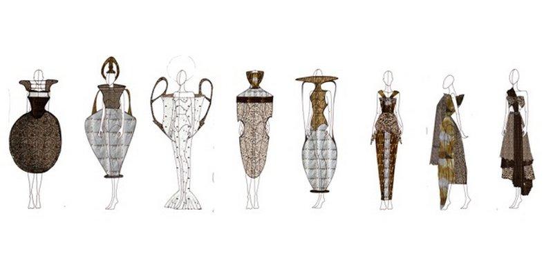Entwurfszeichnung für das Kleid 'Vasenbild' © Sophia Stuhlmiller Foto freundlicherweise vom Museum zur Verfügung gestellt