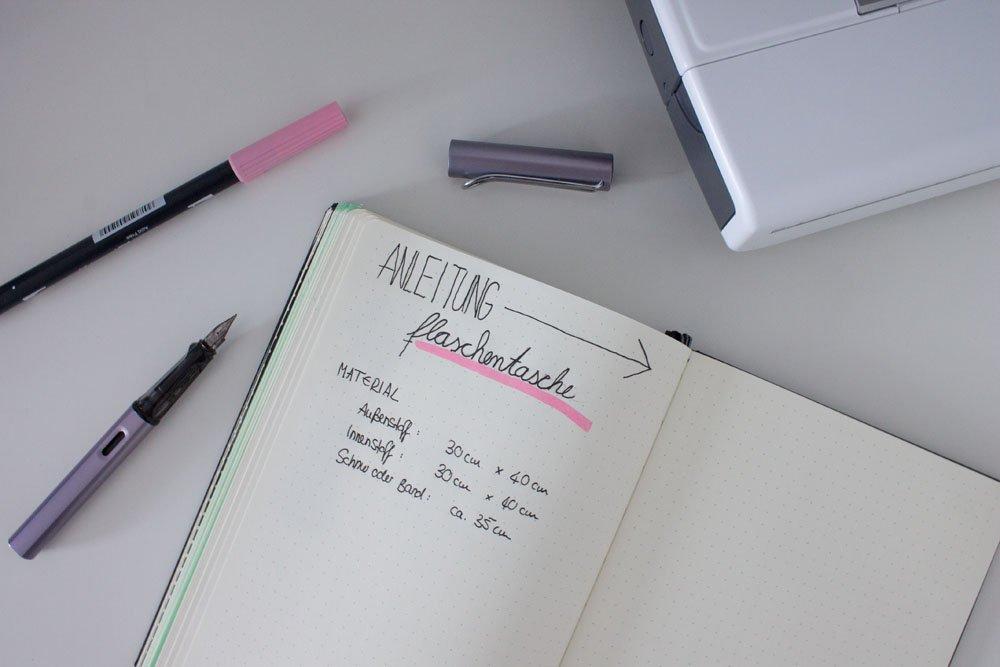 Bullet Journal mit Materialliste zum Naehen einer Tasche