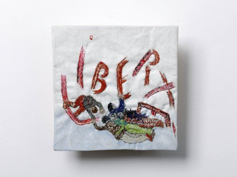 Claire Rado de Selva, genannt Rado (geb. 1941, Frankreich): Liberté Baumwolle Ölmalerei, Stickerei 12 x 12 cm © Claire Rado de Selva, genannt Rado Foto freundlicherweise vom Museum zur Verfügung gestellt