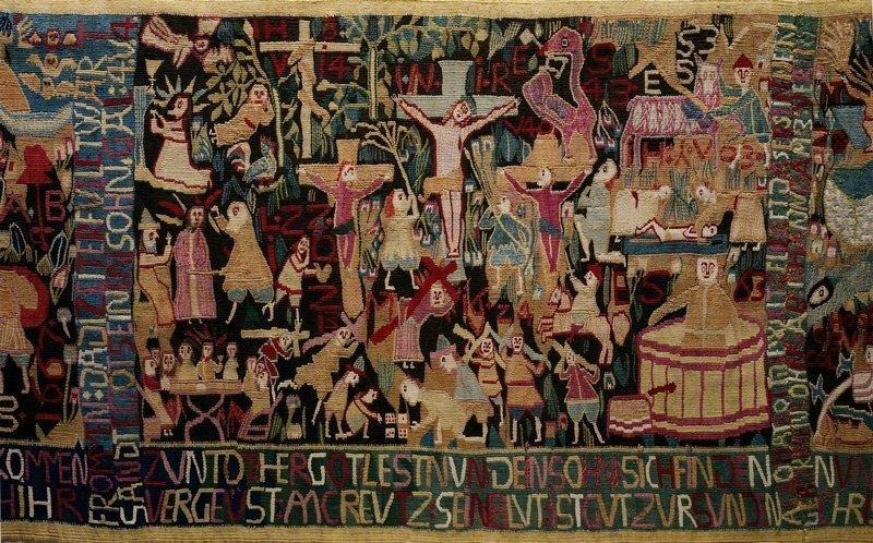 Teppich zum 150. Jahrestag der Reformation von Anna Bump, 1667, Dithmarschen / Norddeutschland, Detail © Museum Europäischer Kulturen, Staatliche Museen zu Berlin, Ute Franz-Scarciglia Foto freundlicherweise vom Museum zur Verfügung gestellt