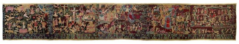 Teppich zum 150. Jahrestag der Reformation von Anna Bump, 1667, Dithmarschen / Norddeutschland © Museum Europäischer Kulturen, Staatliche Museen zu Berlin, Ute Franz-Scarciglia Foto freundlicherweise vom Museum zur Verfügung gestellt