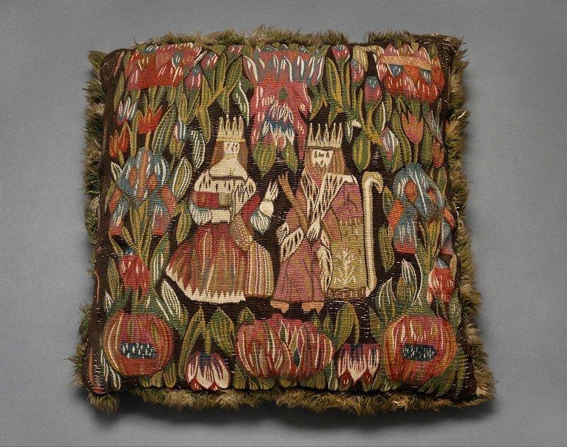Kissen mit der Darstellung eines Königspaares, 2. Hälfte 17. Jh., Dithmarschen / Norddeutschland © Dithmarscher Landesmuseum Meldorf, Ute Franz-Scarciglia Foto freundlicherweise vom Museum zur Verfügung gestellt