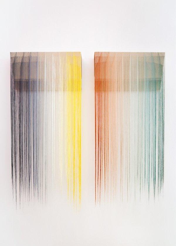 Nike Schroeder: Convex / Concave #11, # 12, 2014 Viskose auf Leinwand 25 (ca. 110) × 51 × 14 cm Foto: Fürcho GmbH, freundlicherweise von der Galerie zur Verfügung gestellt