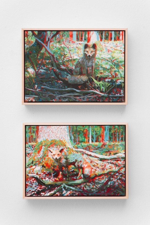 Anna Maria Gawronski: FOX 6D (3 und 6 von 6), 2010 Öl auf Leinwand 19 x 27 cm Foto: Fürcho GmbH, freundlicherweise von der Galerie zur Verfügung gestellt
