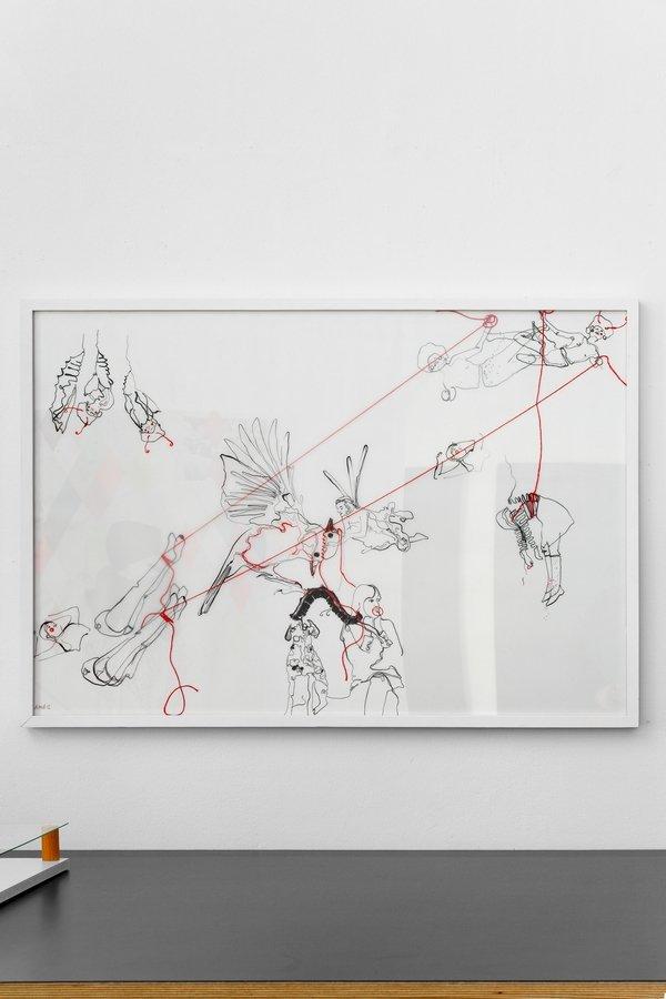 Andrea Hild: Aber wo würden sie leben?, 2012 Tusche mit Faden auf transparentem Papier, Nadel 70 x 100 cm Foto: Fürcho GmbH, freundlicherweise von der Galerie zur Verfügung gestellt