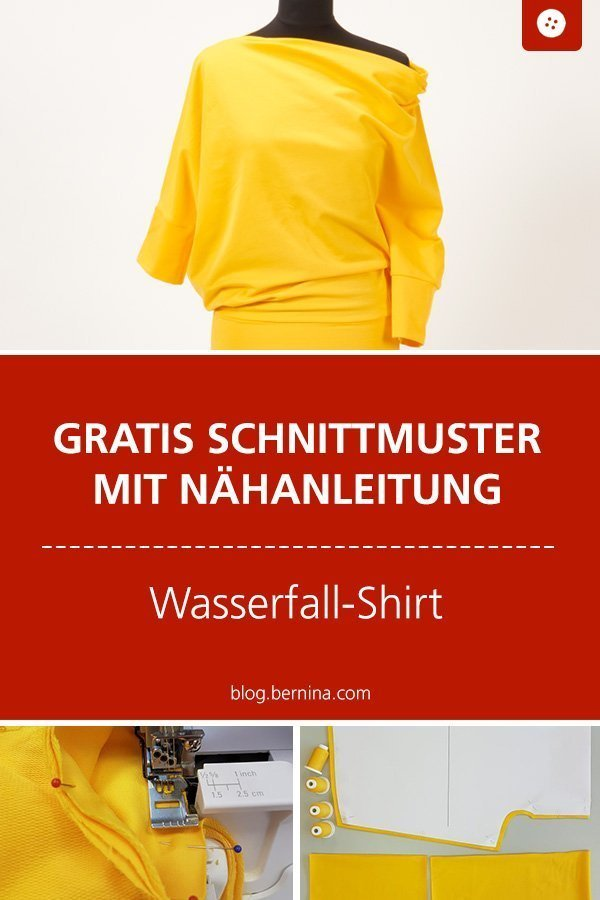 Kostenloses Schnittmuster mit Nähanleitung für ein Shirt mit Wasserfall-Ausschnitt #schnittmuster #nähen #shirt #longsleeve #damen #frauen #winter #oberteil #longsleeve #bernina #nähanleitung #diy #tutorial #freebie #freebook #kostenlos