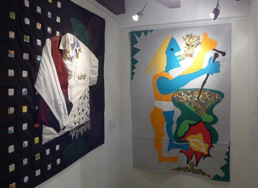 Gudrun Heinz: Downshifting (li), Sarah Schultz: Potion Magique (re) MÄNNER – Ausstellungsprojekt von Gudrun Heinz & Sarah Schultz