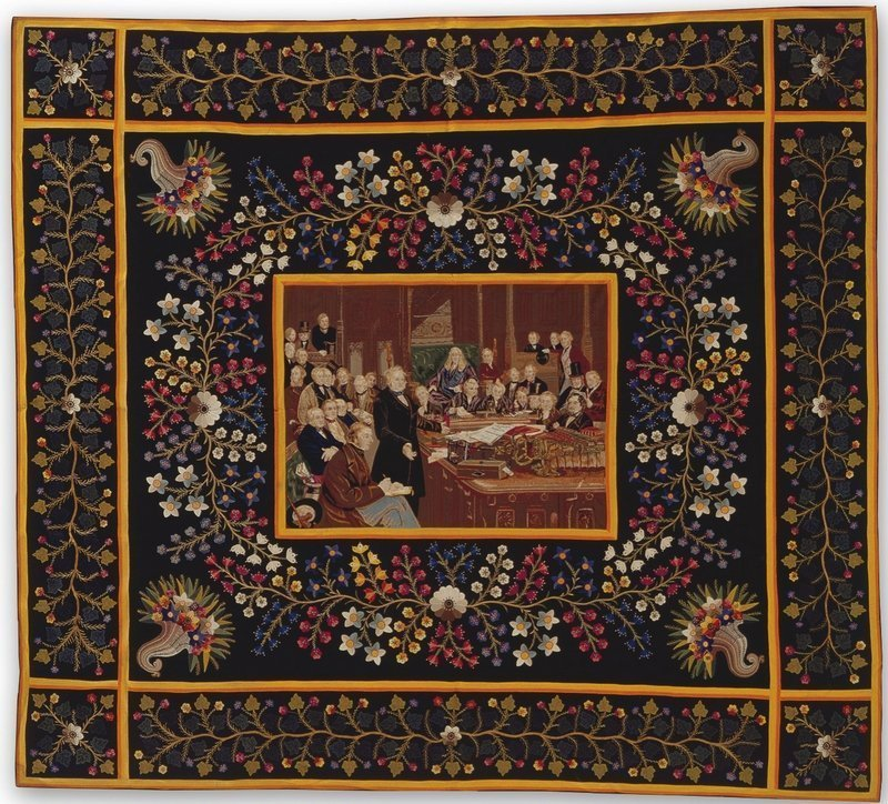 "The House of Commons, 1860 Intarsia Quilt Michael Zumpf (ca. 1819–1891) London, England, und Böhmen 1872 Wollstoffe von Uniformen mit Seidenstickgarn; Intarsia, Handstickerei 73 1/4 x 81"" The Annette Gero Collection Foto: Tim Connolly, Shoot Studios, freundlicherweise vom Museum zur Verfügung gestellt"