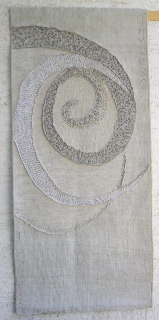 Saskia Hetzel: Yesterday-Today-Tomorrow 1 Foto freundlicherweise von der Galerie Quilt Et Textilkunst zur Verfügung gestellt