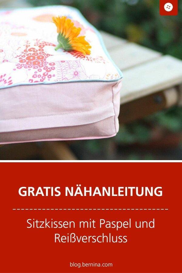 Kostenlose Nähanleitung : Sitzkissen mit Paspel und Reißverschluss #schnittmuster #kissen #nähenmachtglücklich #nähen #tutorial #freebook #freebie #kostenlos #nähanleitung #diy #bernina #sewing