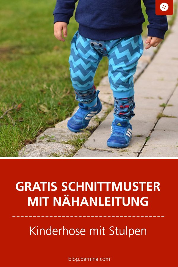 Gratis Schnittmuster mit Nähanleitung (Freebook): Kinderhose mit Stulpen nähen
