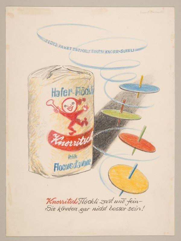 Entwurf für «Knorritsch»-Inserat (um 1950) Hafer-Flöckli Knorritsch. Mit Knorr-Surrli. Anzeige für den Beobachter. 26 x 19,5 cm. Farbstiftzeichnung auf Papier. Urheber: Hans Tomamichel. Auftraggeber: Knorr Nährmittel AG | Unilever Schweiz GmbH Foto freundlicherweise vom Museum zur Verfügung gestellt