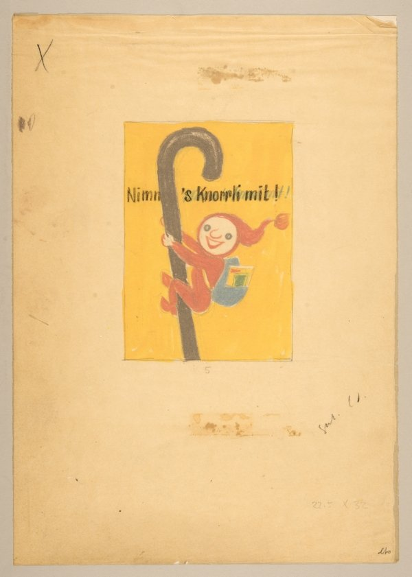 Entwurf für «Knorr»-Plakat (um 1955) Nimm's Knorrli mit!. 21 x 29,7 cm. Farbstiftzeichnung auf Papier. Urheber: Hans Tomamichel. Auftraggeber: Knorr Nährmittel AG   Unilever Schweiz GmbH Foto freundlicherweise vom Museum zur Verfügung gestellt