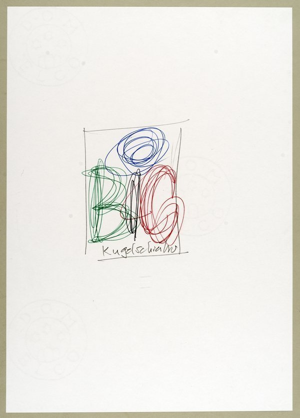 Entwurfskizze für «BiC»-Plakat (um 1968) Mit BiC-Kugelschreiber gekritzelt. 10,5 x 14,9 cm. Offsetdruck auf Papier. Urheber: Ruedi Külling. Auftraggeber: Société Bic (suisse), Lugano Foto freundlicherweise vom Museum zur Verfügung gestellt