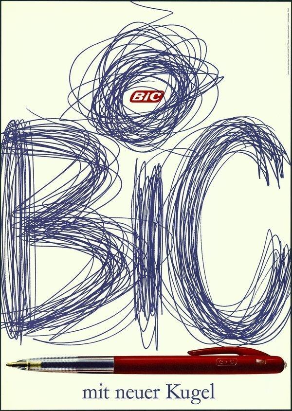 «BiC»-Plakat (um 1960) BiC mit neuer Kugel. 128 x 90,5 cm. Offsetdruck auf Papier. Urheber: Ruedi Külling. Auftraggeber: Société Bic (suisse), Lugano Foto freundlicherweise vom Museum zur Verfügung gestellt
