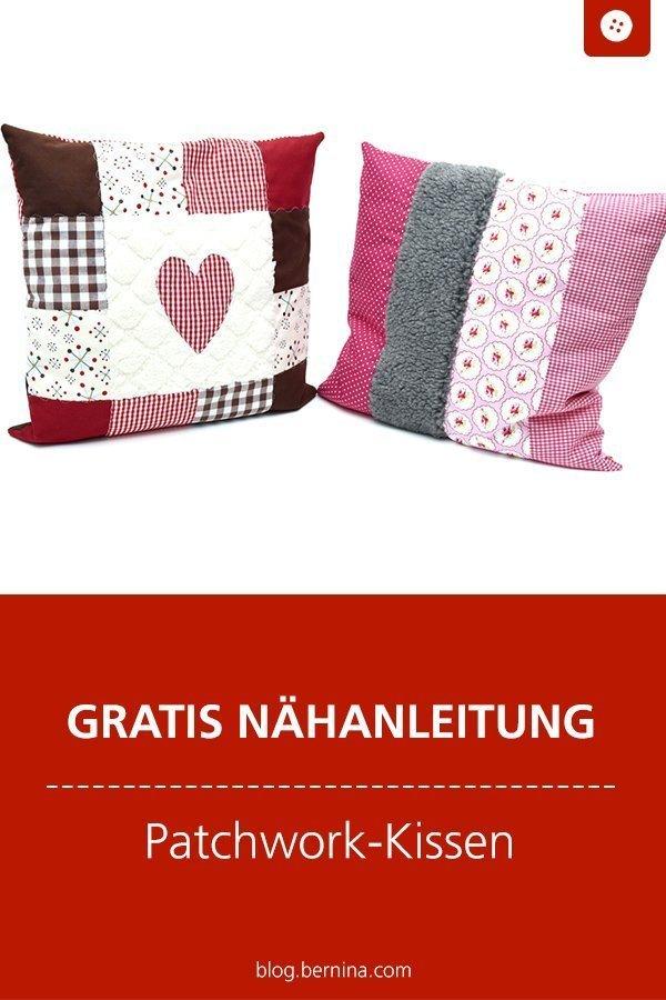 Kostenlose Nähanleitung für Patchwork-Kissen #kissen #wohnen #deko #freebie #nähen #nähanleitung #diy #tutorial #patchwork #winter #bernina