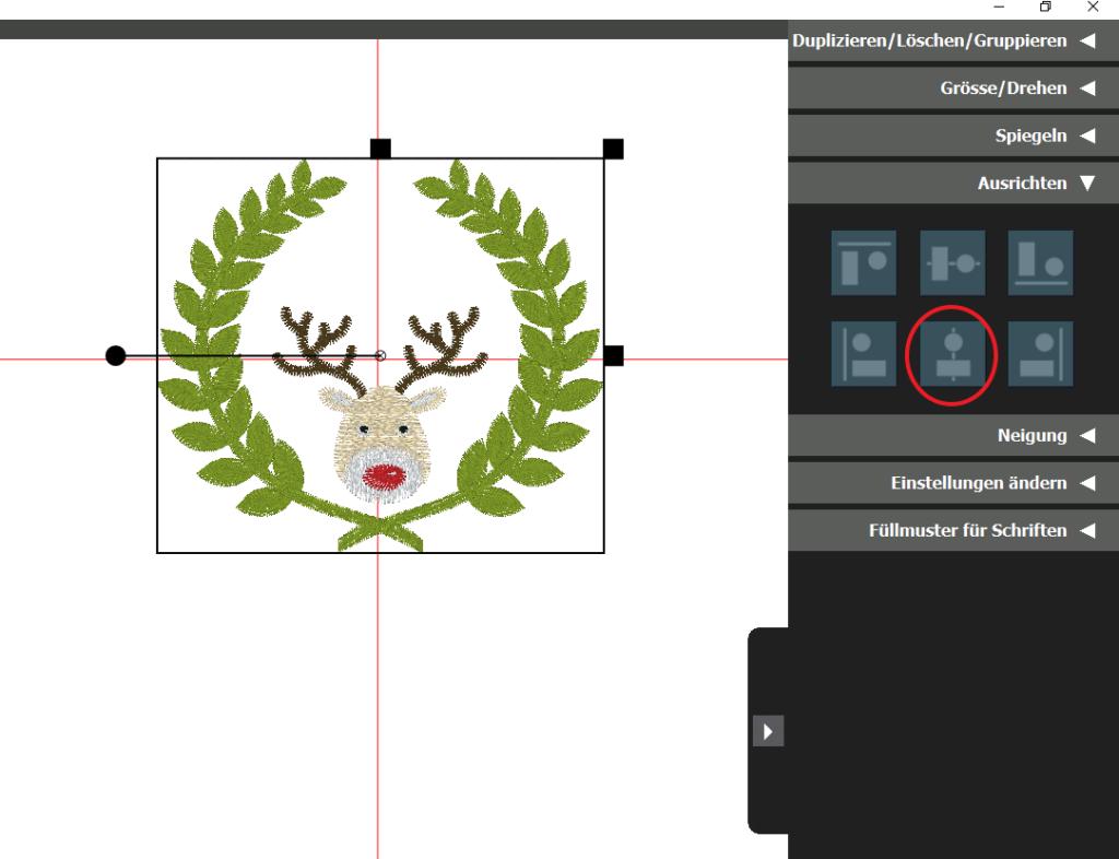 design in der Toolbox zentrieren