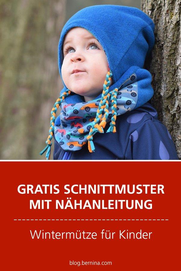 Gratis Schnittmuster mit Nähanleitung (Freebook): Wintermütze für Kinder