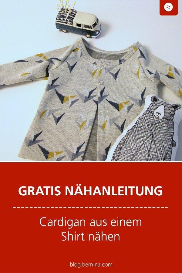 Kostenlose Nähanleitung: Cardigan aus einem Shirt nähen #anleitung #cardigan #shirt #nähen #freebie #freebook #kostenlos #bernina #nähanleitung #diy #tutorial #kleidung