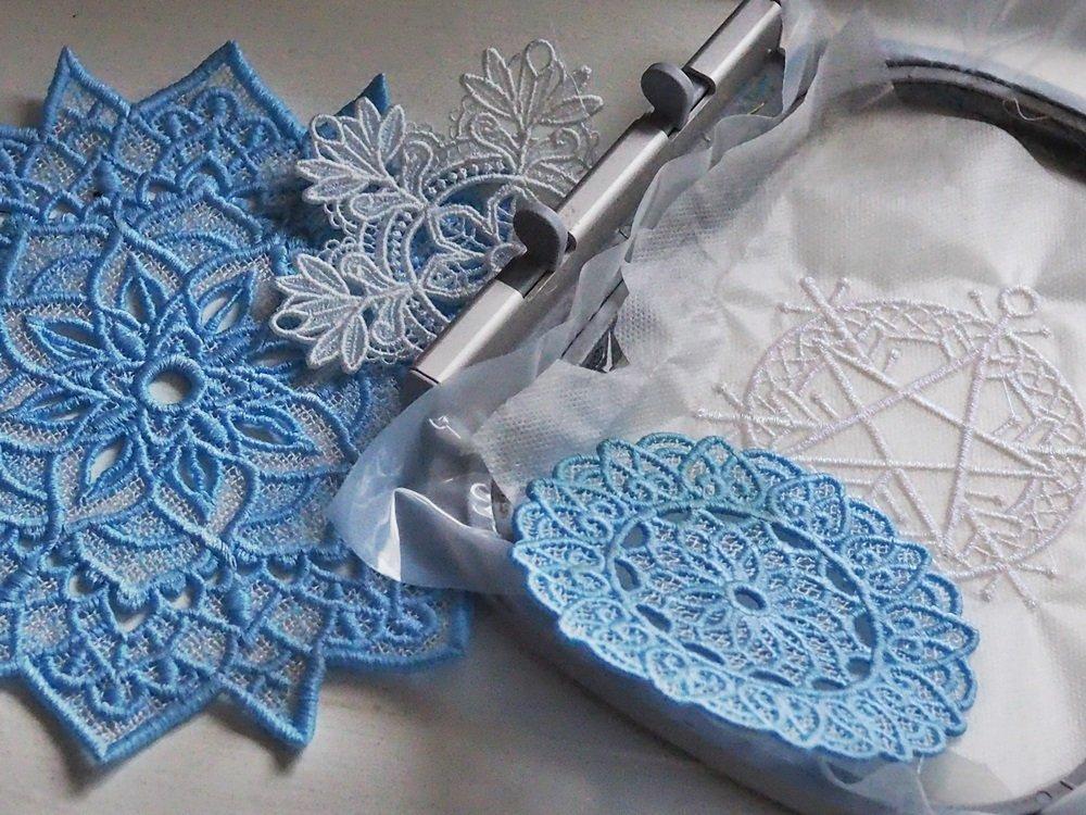 Free-standing-lace Stickerei auf der Stickmaschine