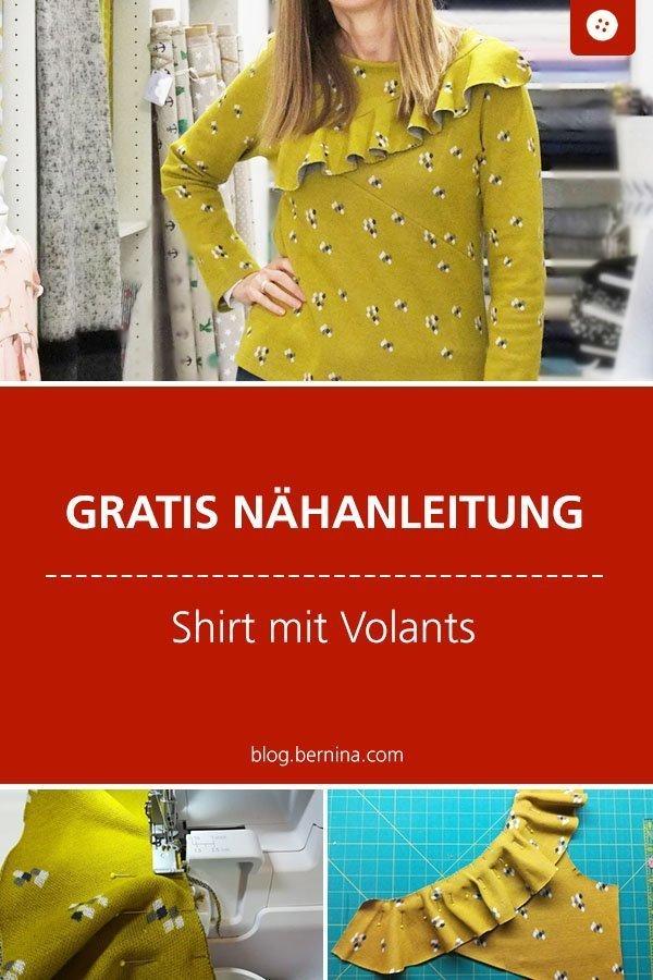 Nähkunde / Tutorials: Rüschen und Volants einsetzen #nähen #kleidung #frauen #rüsche #volants  #jersey  #tutorial #nähanleitung #diy #bernina