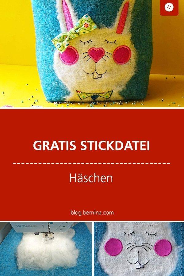 Gratis Stickdatei: Fefilztes Häschen zu Ostern #stickdatei #stickmuster #stickvorlage #hase #ostern #sticken #nähen #bernina #vorlage #diy #tutorial #freebie