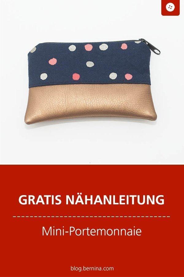Kostenlose Nähanleitung für ein Mini-Portemonnaie #anleitung #geldbörse #etui #portemonnaie #geldbeutel #nähen #bernina #nähanleitung #diy #tutorial #freebie #freebook #kostenlos