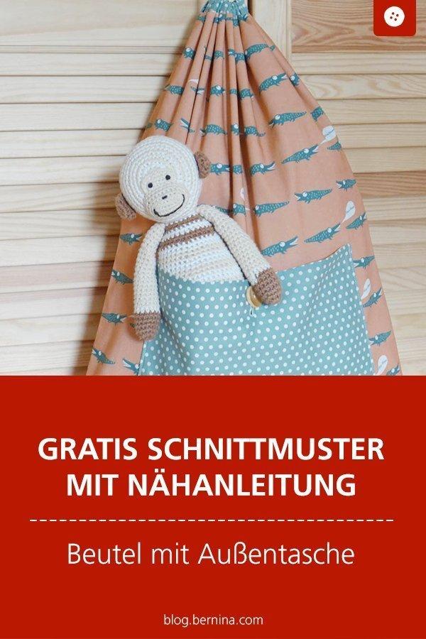 Kostenloses Schnittmuster mit Nähanleitung für einen Zuzieh-beutel mit aufgesetzter Tasche #schnittmuster #nähen #beutel #tasche #bernina #nähanleitung #diy #tutorial #freebie #freebook #kostenlos