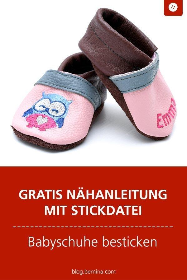 best website 2e52e eb8e9 Kostenlose Nähanleitung für Babyschuhe mit Stickdatei ...