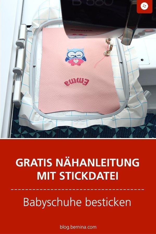 Kostenlose Nähanleitung für Babyschuhe mit Stickdatei #tutorial #schuhe #baby #puschen #krabbelschuhe #hausschuhe #kinder #freebie #nähen #nähanleitung #diy #bernina