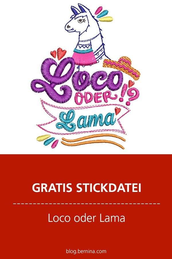 Gratis Stickdatei: Loco oder Lama?