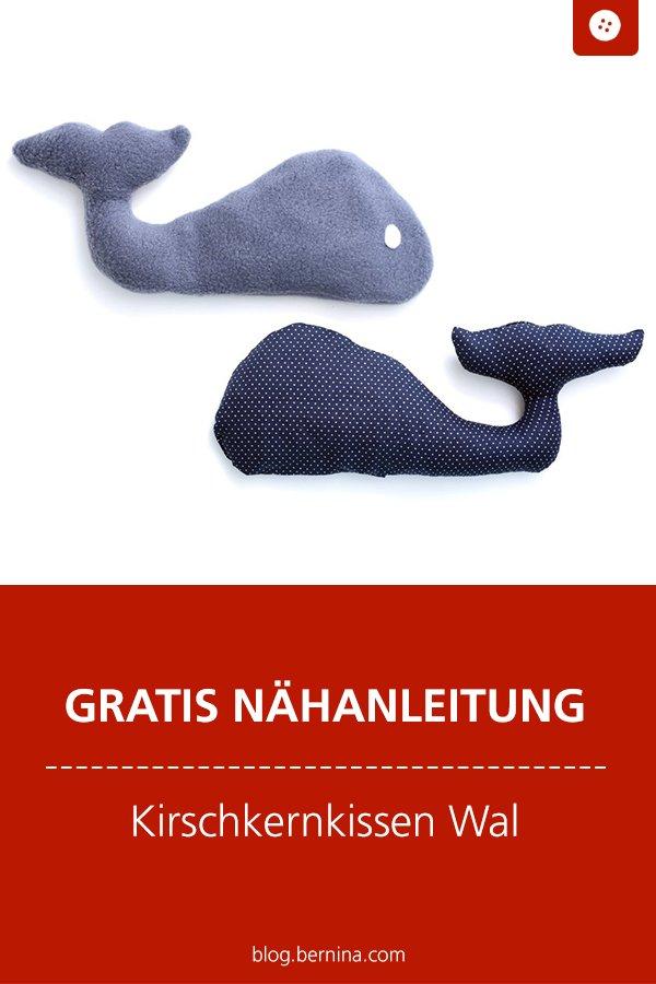 Kostenlose Nähanleitung: Kirschkernkossen Wal nähen für Baby & Kind