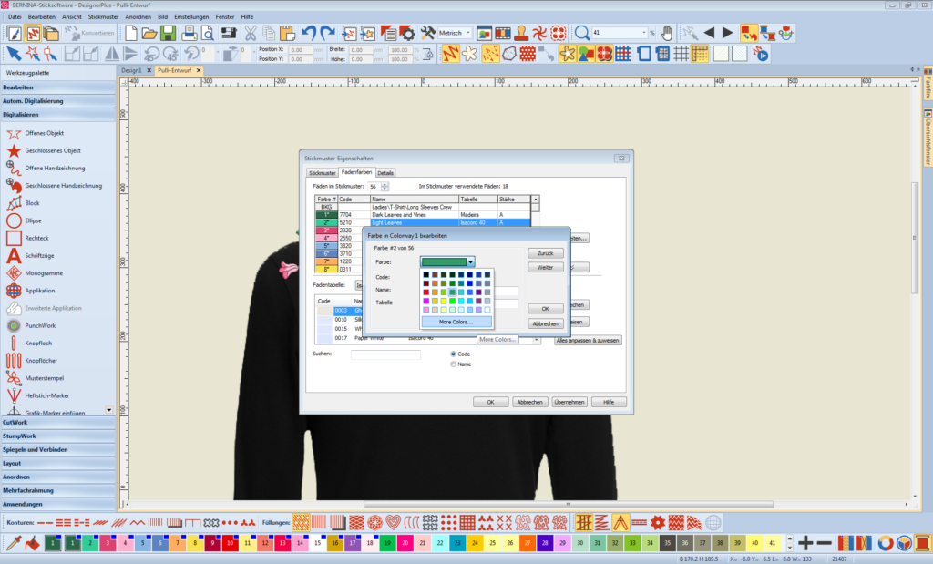 Sticksoftware Garnfarbe abändern