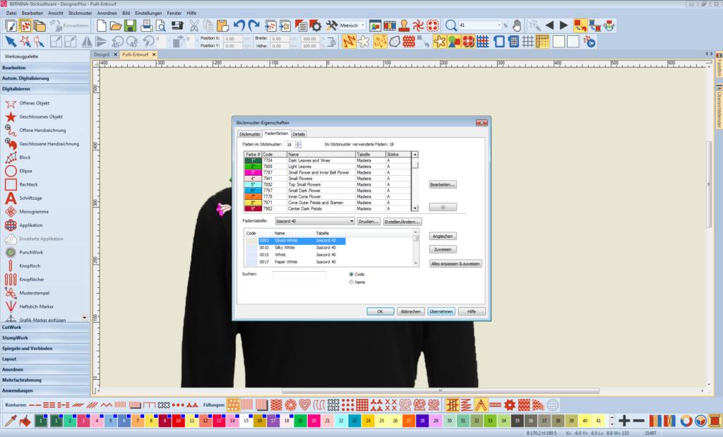Sticksoftware abgeänderte Garnfarben übernehmen