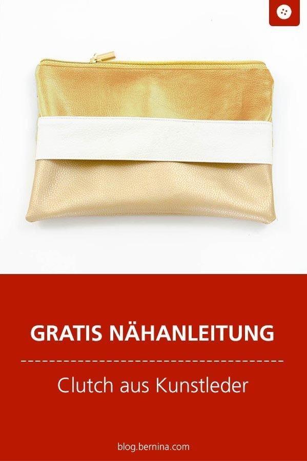Kostenlose Nähanleitung : Clutch aus Kunstleder #schnittmuster #nähen #tutorial #freebook #freebie #etui #clutch #taschenähen #handtasche #kostenlos #nähanleitung #diy #bernina #sewing
