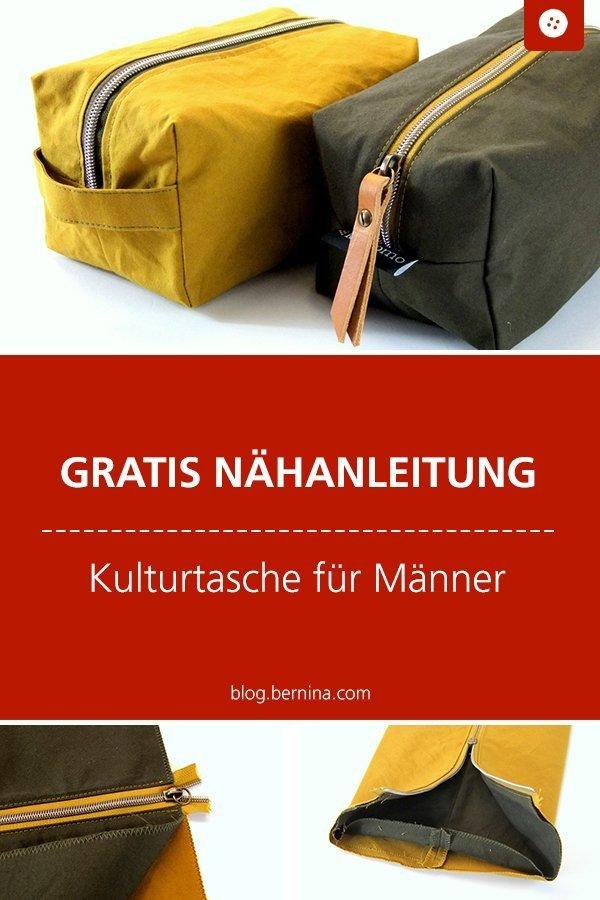 Kostenlose Nähanleitung für eine Kulturtasche für Männer #tasche #etui #kosmetiktasche #freebie #nähen ##nähanleitung #diy #tutorial #maenner #mann #bernina