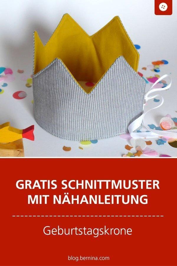 Kostenloses Schnittmuster mit Nähanleitung für eine Geburtstagskrone Freebook #schnittmuster #nähen #geburtstag #party #krone #kinder #bernina #nähanleitung #diy #tutorial #freebie #freebook #kostenlos
