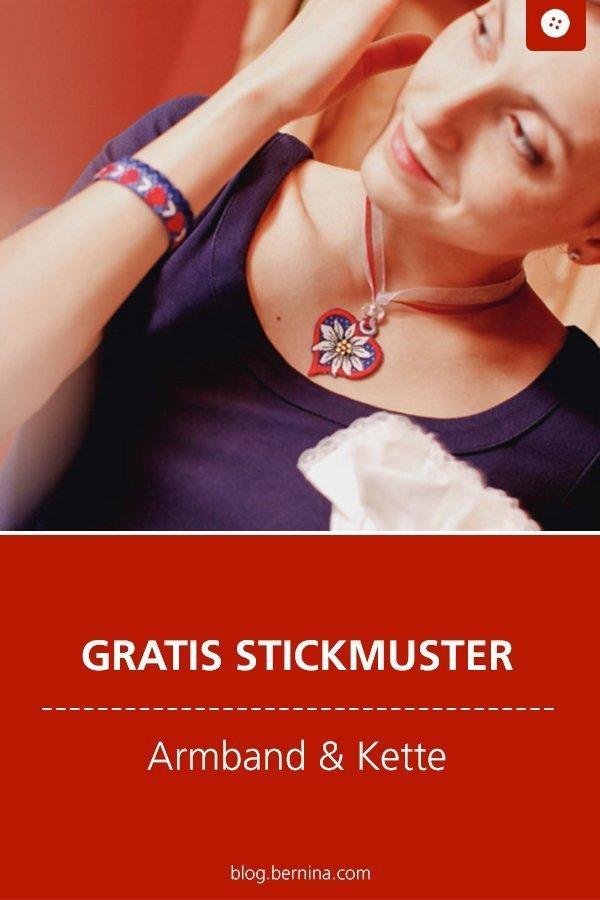 Gratis Stickdatei: Armband und Kette Freebie #stickdatei #stickmuster #stickvorlage #herz #armband #blume #kette #pflanze #sticken #nähen #bernina #vorlage #diy #tutorial #freebie