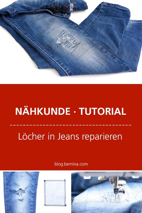 Nähkunde / Tutorials: Löcher in Jeans reparieren #nähen #nähkunde #nähtipps #jeans #flicken #jeansflicken #knielöcher #tutorial #nähanleitung #diy #bernina #freebie