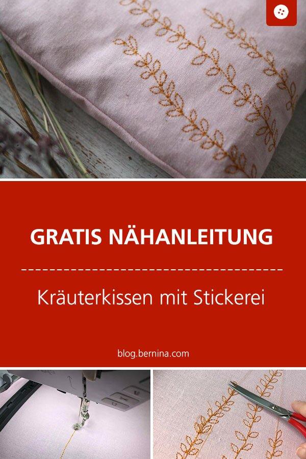 Gratis Stickanleitung & Nähanleitung: Kräuterkissen mit Stickerei #stickdatei #stickmuster #stickvorlage #pflanzen #blumen #kräuterkissen #sticken #nähen #bernina #vorlage #diy #tutorial #freebie