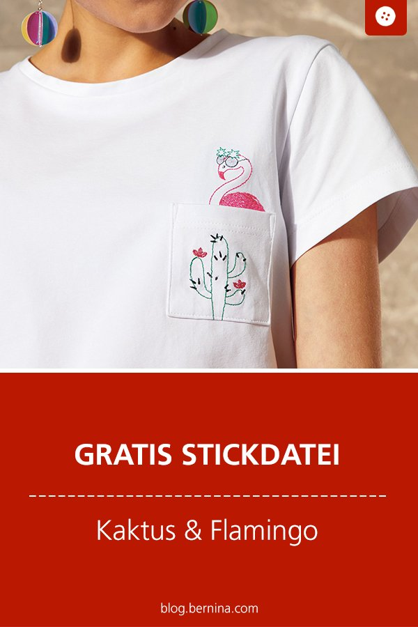 Gratis Stickdatei: Flamingo & Kaktus Freebie