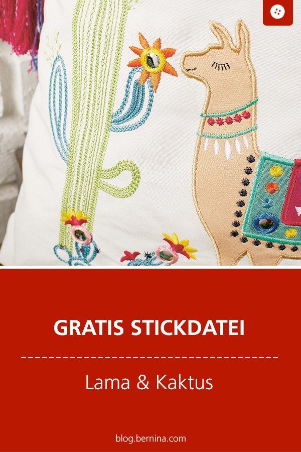 Gratis Stickdatei: Lama & Kaktus Freebie