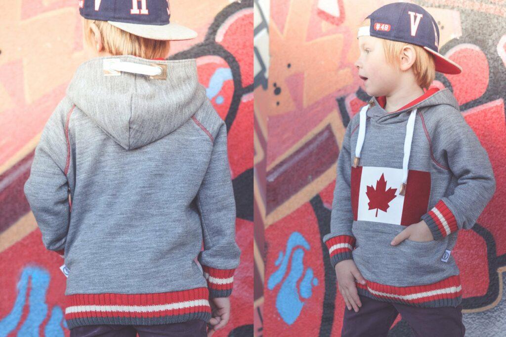 Cosby Sweater Kids mit geplotteter kanada-Flagge